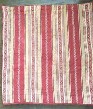 New ListingRestoration Hardware Quilted Tan Red Striped Floral Standard Euro Sham