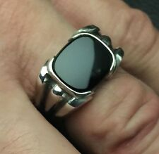 MJG STERLING SILVER MEN'S RING. 12 X 14 mm CUSHION BLACK ONYX. SIZE 9 1/2