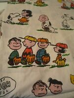 Vintage 1971 Peanuts Twin fitted Sheet Multi Colored Great Shape