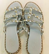 ASH Studded Leather Studded Sandals Slides Flats Grey/Blue Gold Size 7 1/2