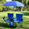 Foldable Picnic Beach Camping Double Chair Umbrella Table Cooler Fishing Fold Up