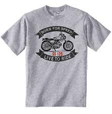 BENELLI SS 125-Nuova T-Shirt grigio Cotone-Tutte le taglie in magazzino