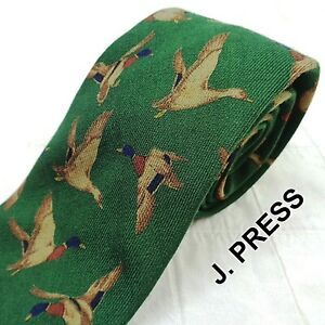 Vintage J. Press Forest Green 100% Wool Neck Tie Made Italy DUCK BIRD HUNTING