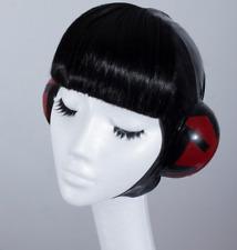 Dead Lotus latex cap with black fringe, aviator cap in latex red & black