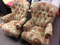 PAIR OF EDWARD FIRESIDE ARMCHAIRS IN THE CUBA FLORAL FABRIC