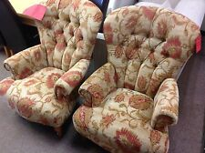 P.K. PAIR OF EDWARD FIRESIDE ARMCHAIRS IN THE CUBA FLORAL FABRIC