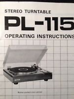 Pioneer PL-115D Turntable Original Owners Manual 10 Pages COLLECTORS ITEM