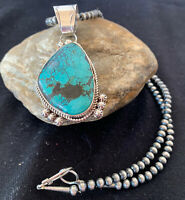 Stunning Sterling Silver Navajo Pearls Spiderweb Turquoise Necklace Pendant 810