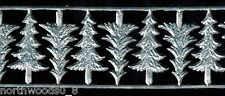FIR CHRISTMAS TREE SILVER  EMBOSSED SCRAP DRESDEN ART ORNAMENT PUTZ CARDMAKING