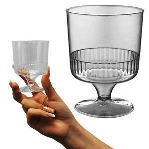 Essential Party BBQ Wedding Disposable Clear Plastic Wine Glasses Goblets 150ml