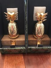 Tommy Bahama Holiday Stocking Holder Pineapple Brass Gold Wood Set Of 2