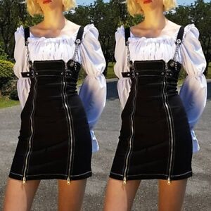 Harajuku Womens Denim Rompers Jeans Suspender Skirts Punk Rock Gothic Mini Skirt