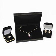 NYJEWEL Brand New 14K Gold Ruby Diamond Pearl Pendant Necklace Earrings Ring Set