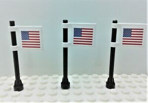 Lego (City Town Village) American Flags on 2x2 tile set of 3 Custom Stickers