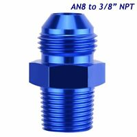 """-8AN Male Flare to 3/8"""" NPT Pipe Thread Straight Adapter Fitting Aluminum Blue"""