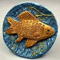 Original Frank Rossi studio button - hand-carved wooden fish