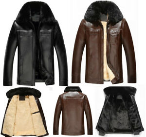 winter fur collar leather jacket wool Fleece lined middle-aged male father coat