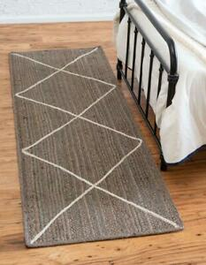 indian hand braided bohemian jute grey color with white diamond line design rug