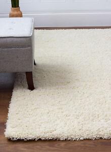 Super Area Rugs Contemporary Modern Plush Shag Solid Area Rug in Vanilla Cream
