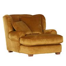Megaohrensessel Lunego Ohrensessel Sessel Bezug gold Füße Holz natur mit Kissen