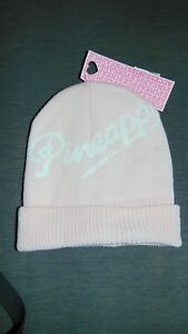 Pineapple Girls Knitted Ribbed Retro Beanie Hat ONE SIZE Pink Mix BNWT