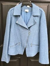 New $149 Chico's Montauk Blue Boiled Wool Lined Moto Jacket 2 L Large 12/14 NWT