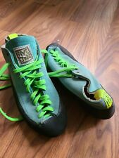 Vintage Five Ten Stealth rock Climbing Shoes Size 11.5 teal suede lime lace ups