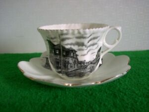 Antique Gore Bay Ont. Souvenir Cup & Saucer Historic Scene Manitoulin Island