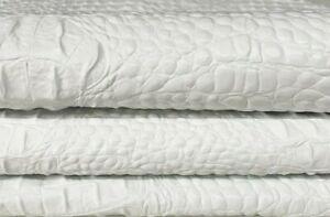 WHITE ALLIGATOR CROCODILE 3D textured Goatskin leather skins 5sqf 0.6mm #A7390