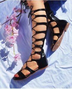 Scarpe Donna Sandali alti Alla schiava tacco basso stivali estivi con lacci 2021