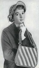 50's 1953 Crochet  Pattern  to make a handbag and hat.  Vintage pattern #1421