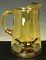 """MID CENTURY GLASS PITCHER 2.5 Quarts 9"""" GOLD AMBER Ice Lip Dimpled Ribbed Handle"""