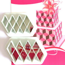 2pcs Lattice Plastic Fondant Cutter Cake Mold Fondant Cupcake Decors Tools SET