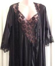 Black Peignoir Val Mode Nightgown Maidenform Robe Medium M