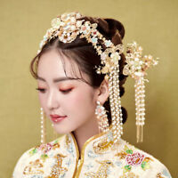 Retro Chinese Bridal Crown Tiaras Clips Wedding Headdress Accessory Earrings Set