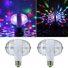 E27 6W RGB Dual Crystal Ball Rotating LED Stage Light Bulb DJ Disco Party Lamp N