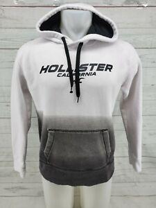 Hollister California Mens Small Sweatshirt Hoodie White & Gray Black