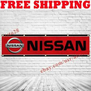 Nissan Car Logo Banner Flag 2x8 ft Racing Show Garage Wall Decor Sign 2021 NEW
