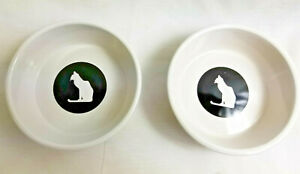 """Cat Kitty Feeding & Water Dishes Bowl 5"""" Ceramic Pottery Black White Silhouettes"""