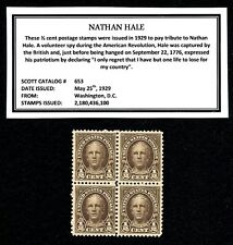 1929 - NATHAN HALE – Mint Never Hinged Block of Four Vintage U.S. Postage Stamps