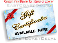 GIFT CERTIFICATES AVAILABLE 2' x 4' Vinyl Banner Sign Outdoor & Indoor Use NEW