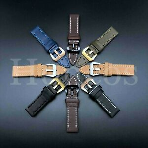 20 22 24 26 MM Watch Black Leather Strap Band Fits For Omega Speed Master James