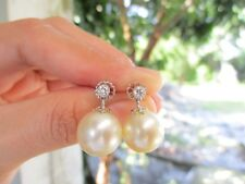 .20 Carat Diamond White Gold Dangling Earrings w/Pearl 18k codeEx10 sepvergara