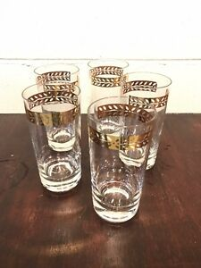 5 Vintage Cocktail Clear Highball Glass Tumblers Gold Band Leaves MCM