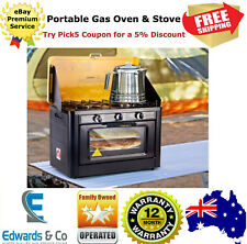 Portable Gas Oven Camping Stove Cooking Outdoor LPG Burner Stainless Steel Black