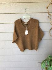 $380 ULLA JOHNSON Hand Knit Alpaca Wool Sidra Pullover V-Neck Crop Sweater SZ S