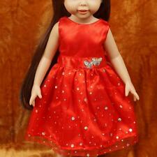 Sommer Party Prinzessin Kleid Rot Puppe Kleidung für alle 18 Zoll Mädchen H4L2