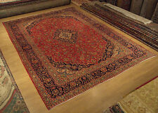 9.7 x 12.7 Handmade High Quality Antique Persian Kashan Rug Fine Soft Silky Wool