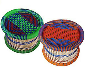 Handmade Eco-friendly Outdoor Stool Made by Bamboo Stick & Color Rope 2 Pieces