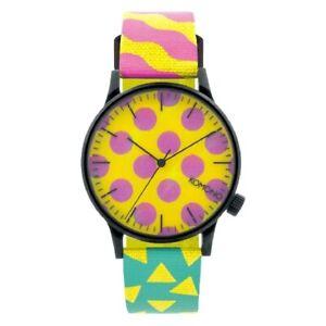 Komono Women's Watch Ladies Steel Nylon Band Yellow/Pink Dial KOM-W2166
